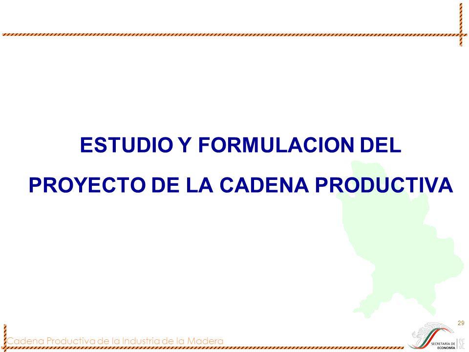 Cadena Productiva de la Industria de la Madera 29 ESTUDIO Y FORMULACION DEL PROYECTO DE LA CADENA PRODUCTIVA