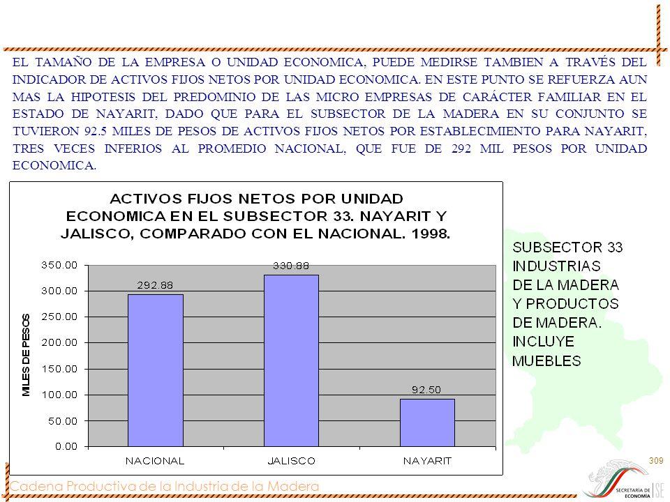 Cadena Productiva de la Industria de la Madera 309 EL TAMAÑO DE LA EMPRESA O UNIDAD ECONOMICA, PUEDE MEDIRSE TAMBIEN A TRAVÉS DEL INDICADOR DE ACTIVOS