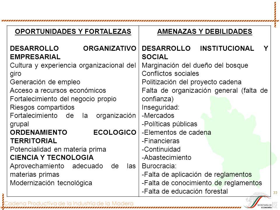 Cadena Productiva de la Industria de la Madera 33 OPORTUNIDADES Y FORTALEZAS DESARROLLO ORGANIZATIVO EMPRESARIAL Cultura y experiencia organizacional