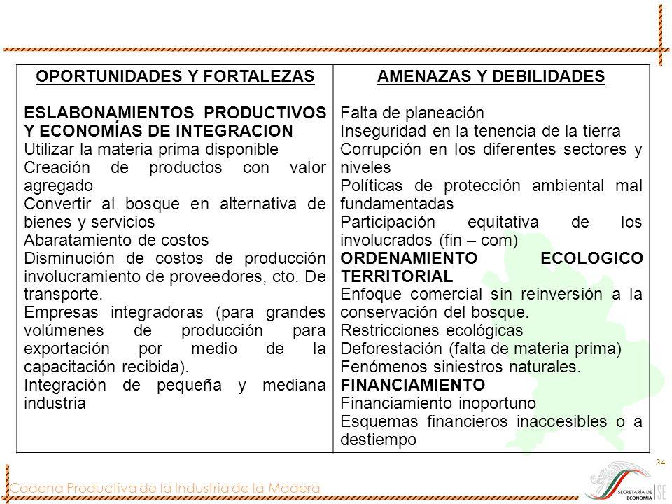 Cadena Productiva de la Industria de la Madera 34 OPORTUNIDADES Y FORTALEZAS ESLABONAMIENTOS PRODUCTIVOS Y ECONOMÍAS DE INTEGRACION Utilizar la materi