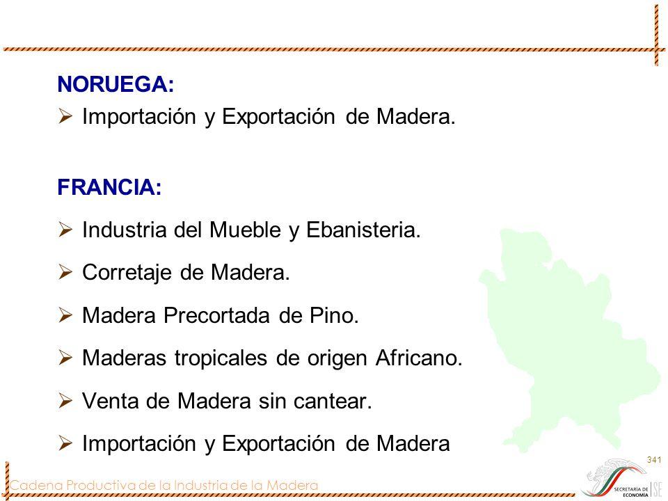 Cadena Productiva de la Industria de la Madera 341 NORUEGA: Importación y Exportación de Madera. FRANCIA: Industria del Mueble y Ebanisteria. Corretaj