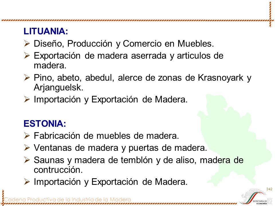 Cadena Productiva de la Industria de la Madera 342 LITUANIA: Diseño, Producción y Comercio en Muebles. Exportación de madera aserrada y articulos de m