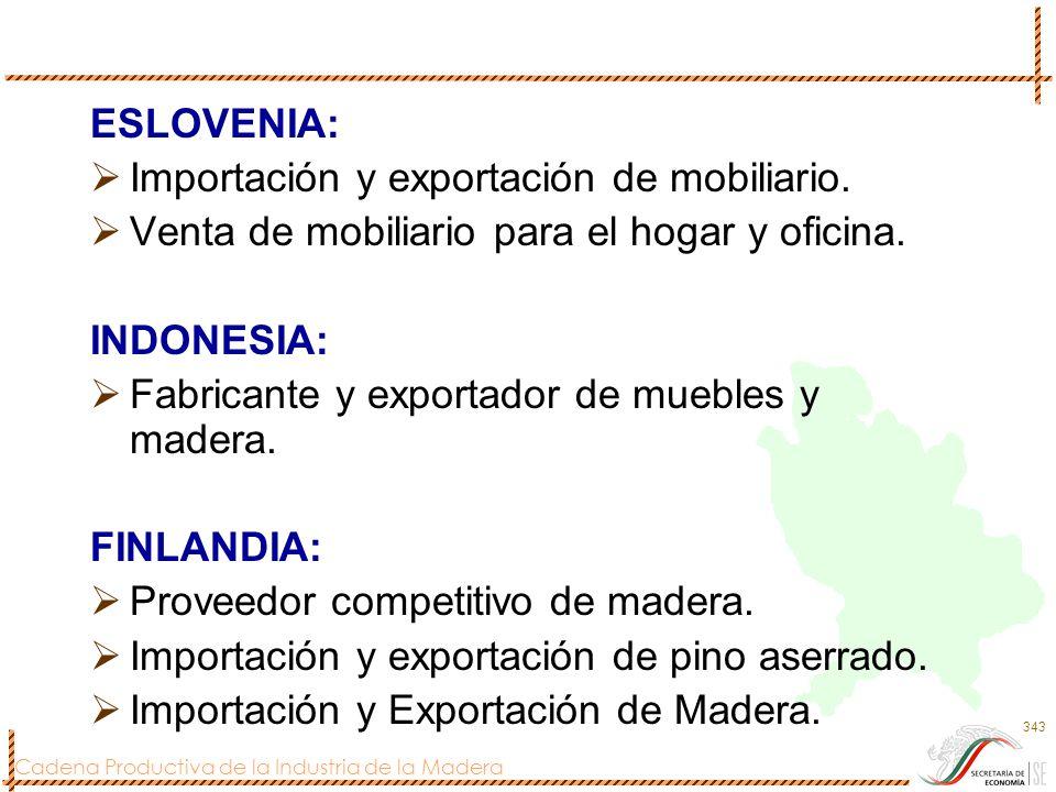 Cadena Productiva de la Industria de la Madera 343 ESLOVENIA: Importación y exportación de mobiliario. Venta de mobiliario para el hogar y oficina. IN