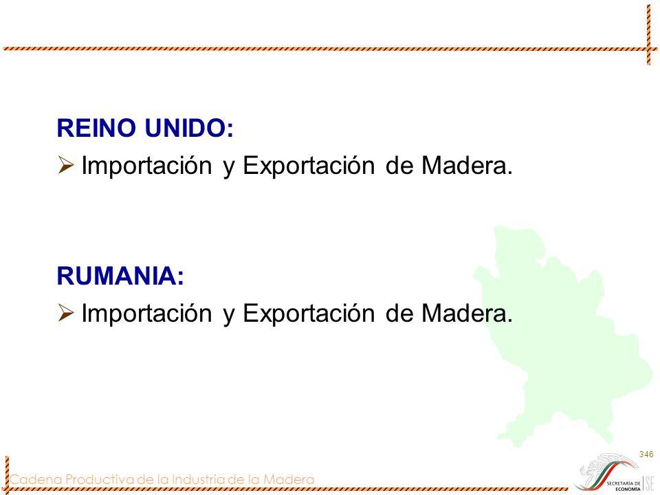 Cadena Productiva de la Industria de la Madera 346 REINO UNIDO: Importación y Exportación de Madera. RUMANIA: Importación y Exportación de Madera.