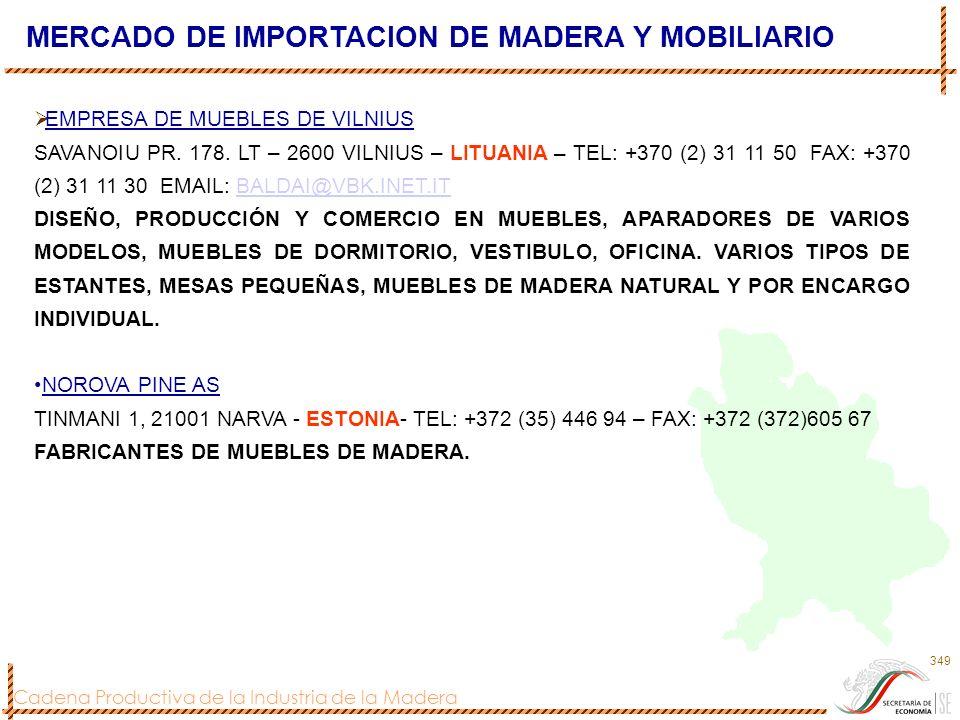 Cadena Productiva de la Industria de la Madera 349 MERCADO DE IMPORTACION DE MADERA Y MOBILIARIO EMPRESA DE MUEBLES DE VILNIUS SAVANOIU PR. 178. LT –
