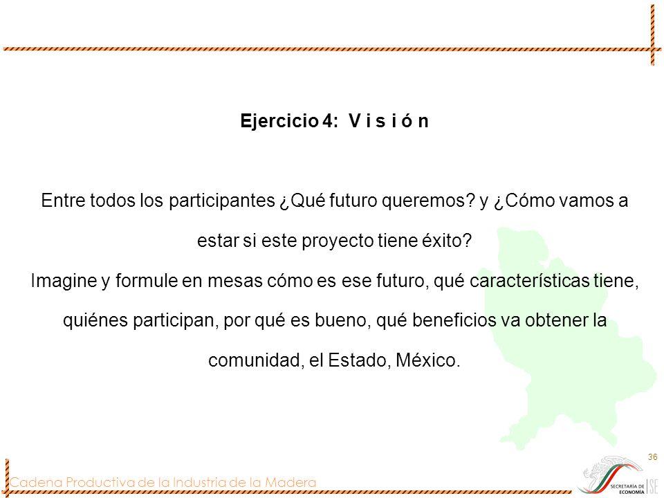 Cadena Productiva de la Industria de la Madera 36 Ejercicio 4: V i s i ó n Entre todos los participantes ¿Qué futuro queremos? y ¿Cómo vamos a estar s