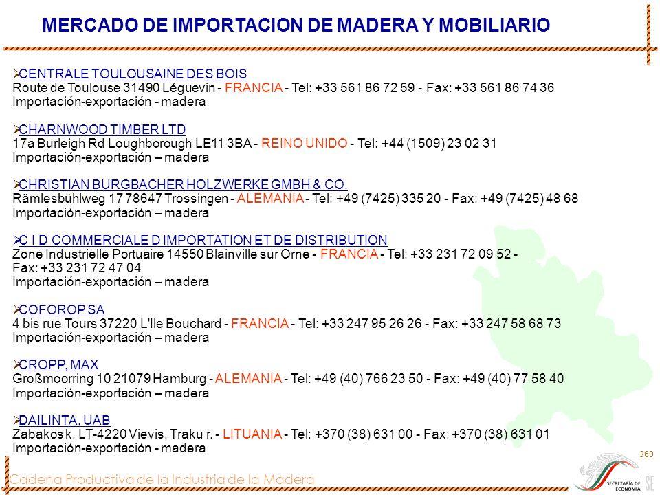 Cadena Productiva de la Industria de la Madera 360 CENTRALE TOULOUSAINE DES BOIS Route de Toulouse 31490 Léguevin - FRANCIA - Tel: +33 561 86 72 59 -