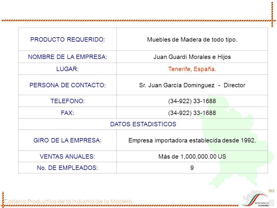 Cadena Productiva de la Industria de la Madera 365 PRODUCTO REQUERIDO:Muebles de Madera de todo tipo. NOMBRE DE LA EMPRESA:Juan Guardi Morales e Hijos
