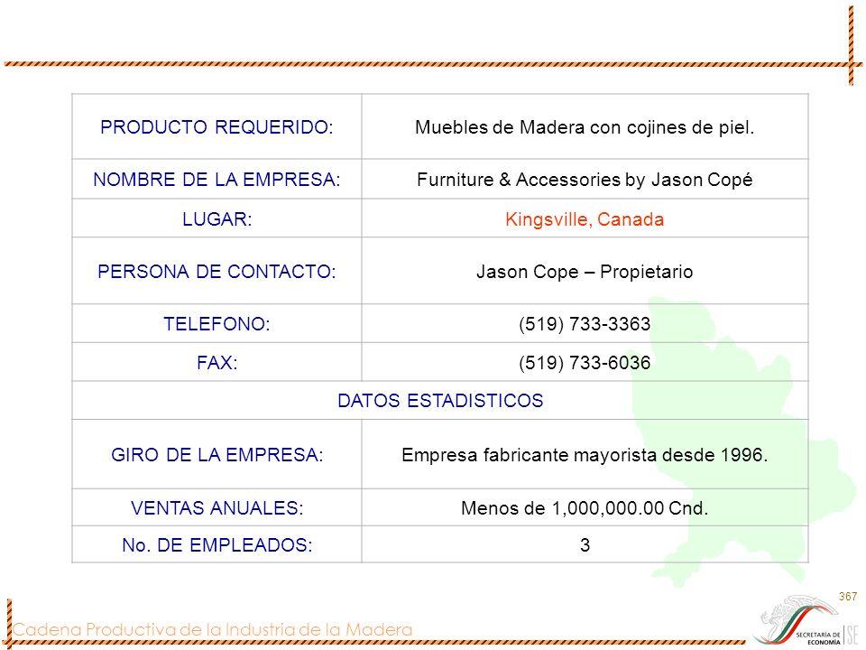 Cadena Productiva de la Industria de la Madera 367 PRODUCTO REQUERIDO:Muebles de Madera con cojines de piel. NOMBRE DE LA EMPRESA:Furniture & Accessor