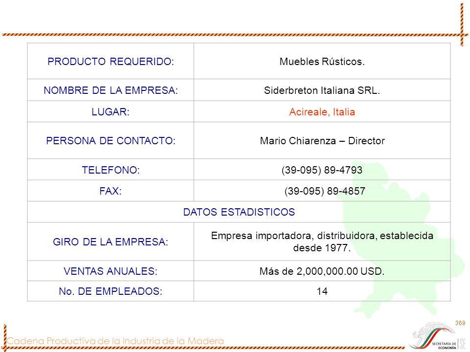 Cadena Productiva de la Industria de la Madera 369 PRODUCTO REQUERIDO:Muebles Rústicos. NOMBRE DE LA EMPRESA:Siderbreton Italiana SRL. LUGAR:Acireale,