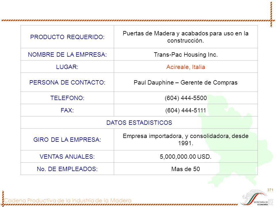 Cadena Productiva de la Industria de la Madera 371 PRODUCTO REQUERIDO: Puertas de Madera y acabados para uso en la construcción. NOMBRE DE LA EMPRESA: