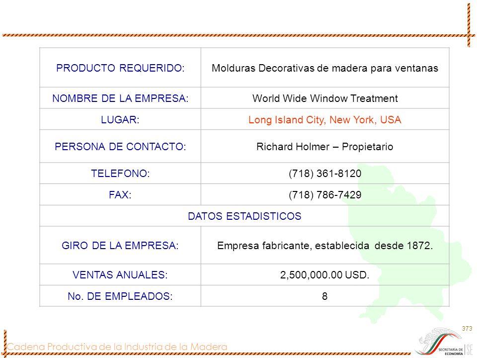 Cadena Productiva de la Industria de la Madera 373 PRODUCTO REQUERIDO:Molduras Decorativas de madera para ventanas NOMBRE DE LA EMPRESA:World Wide Win