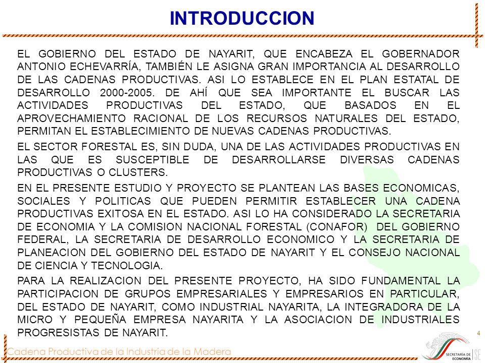 Cadena Productiva de la Industria de la Madera 4 INTRODUCCION EL GOBIERNO DEL ESTADO DE NAYARIT, QUE ENCABEZA EL GOBERNADOR ANTONIO ECHEVARRÍA, TAMBIÉ