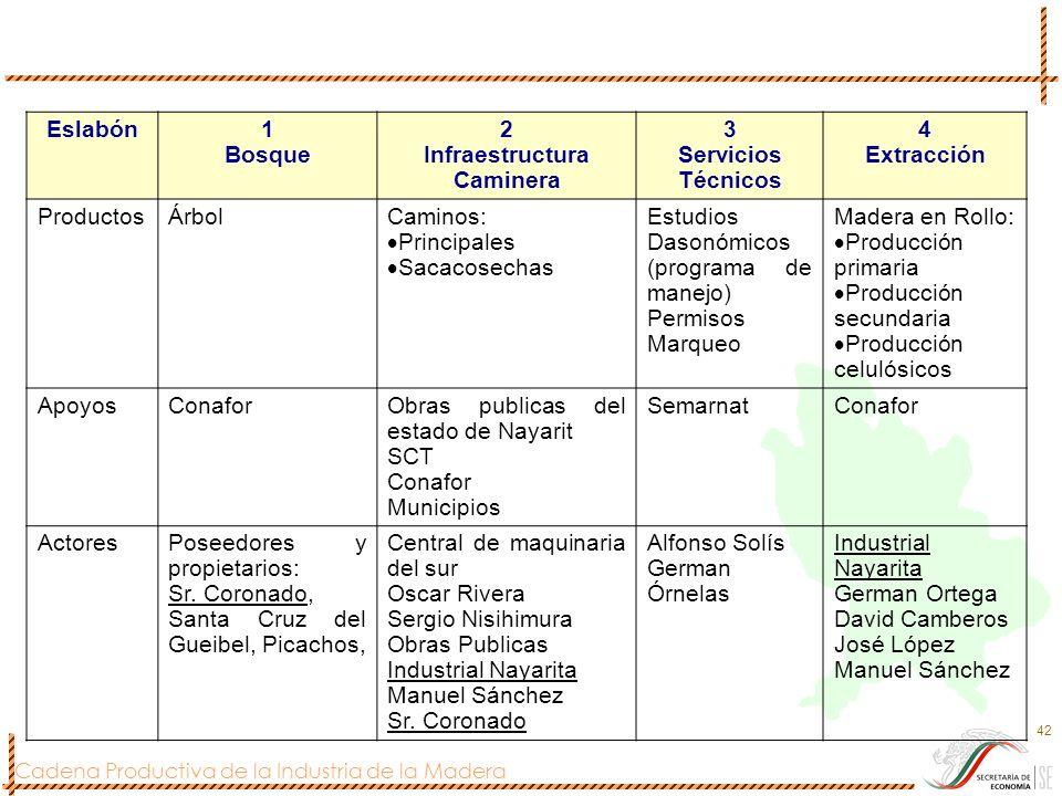 Cadena Productiva de la Industria de la Madera 42 Eslabón1 Bosque 2 Infraestructura Caminera 3 Servicios Técnicos 4 Extracción ProductosÁrbolCaminos: