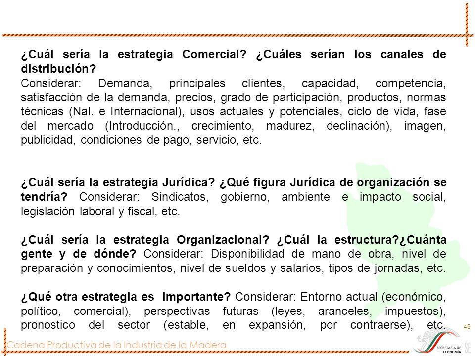 Cadena Productiva de la Industria de la Madera 46 ¿Cuál sería la estrategia Comercial? ¿Cuáles serían los canales de distribución? Considerar: Demanda