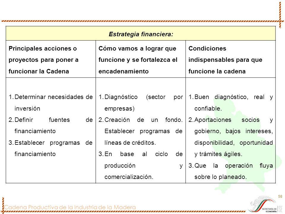 Cadena Productiva de la Industria de la Madera 58 Estrategia financiera: Principales acciones o proyectos para poner a funcionar la Cadena Cómo vamos