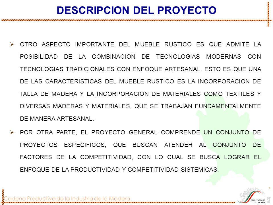 Cadena Productiva de la Industria de la Madera 7 DESCRIPCION DEL PROYECTO OTRO ASPECTO IMPORTANTE DEL MUEBLE RUSTICO ES QUE ADMITE LA POSIBILIDAD DE L