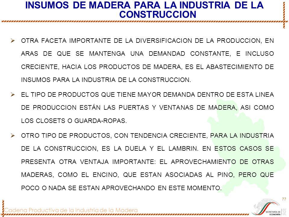 Cadena Productiva de la Industria de la Madera 77 INSUMOS DE MADERA PARA LA INDUSTRIA DE LA CONSTRUCCION OTRA FACETA IMPORTANTE DE LA DIVERSIFICACION