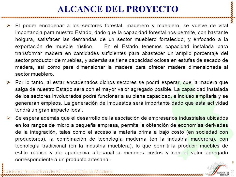 Cadena Productiva de la Industria de la Madera 8 ALCANCE DEL PROYECTO El poder encadenar a los sectores forestal, maderero y mueblero, se vuelve de vi