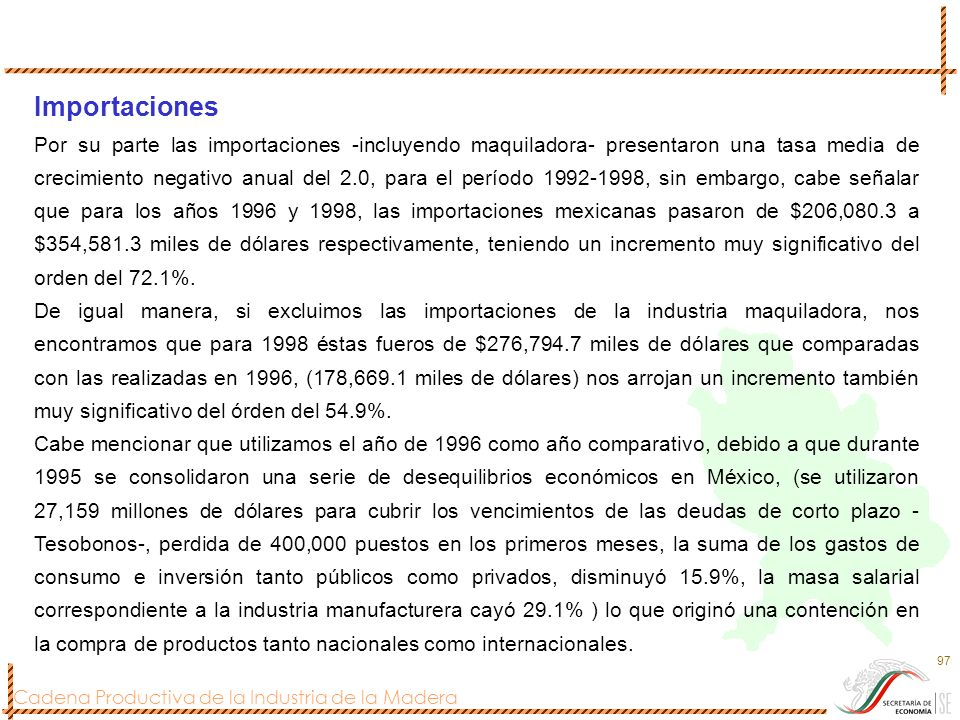 Cadena Productiva de la Industria de la Madera 97 Importaciones Por su parte las importaciones -incluyendo maquiladora- presentaron una tasa media de