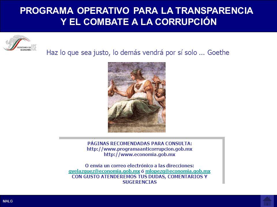 PÁGINAS RECOMENDADAS PARA CONSULTA: http://www.programaanticorrupcion.gob.mx http://www.economia.gob.mx O envía un correo electrónico a las direccione