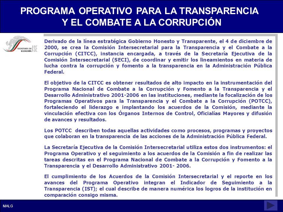 Derivado de la línea estratégica Gobierno Honesto y Transparente, el 4 de diciembre de 2000, se crea la Comisión Intersecretarial para la Transparenci