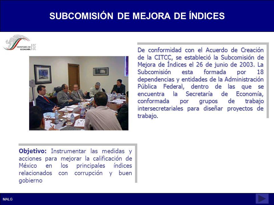 De conformidad con el Acuerdo de Creación de la CITCC, se estableció la Subcomisión de Mejora de Índices el 26 de junio de 2003. La Subcomisión esta f