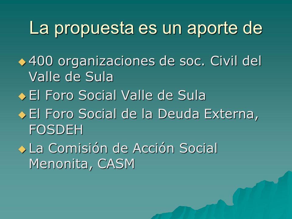 La propuesta es un aporte de 400 organizaciones de soc. Civil del Valle de Sula 400 organizaciones de soc. Civil del Valle de Sula El Foro Social Vall