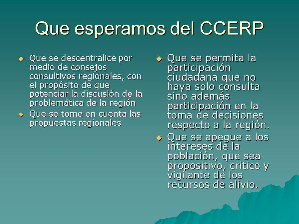 Que esperamos del CCERP Que se descentralice por medio de consejos consultivos regionales, con el propósito de que potenciar la discusión de la proble