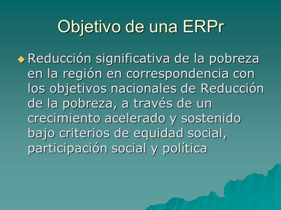 Objetivo de una ERPr Reducción significativa de la pobreza en la región en correspondencia con los objetivos nacionales de Reducción de la pobreza, a