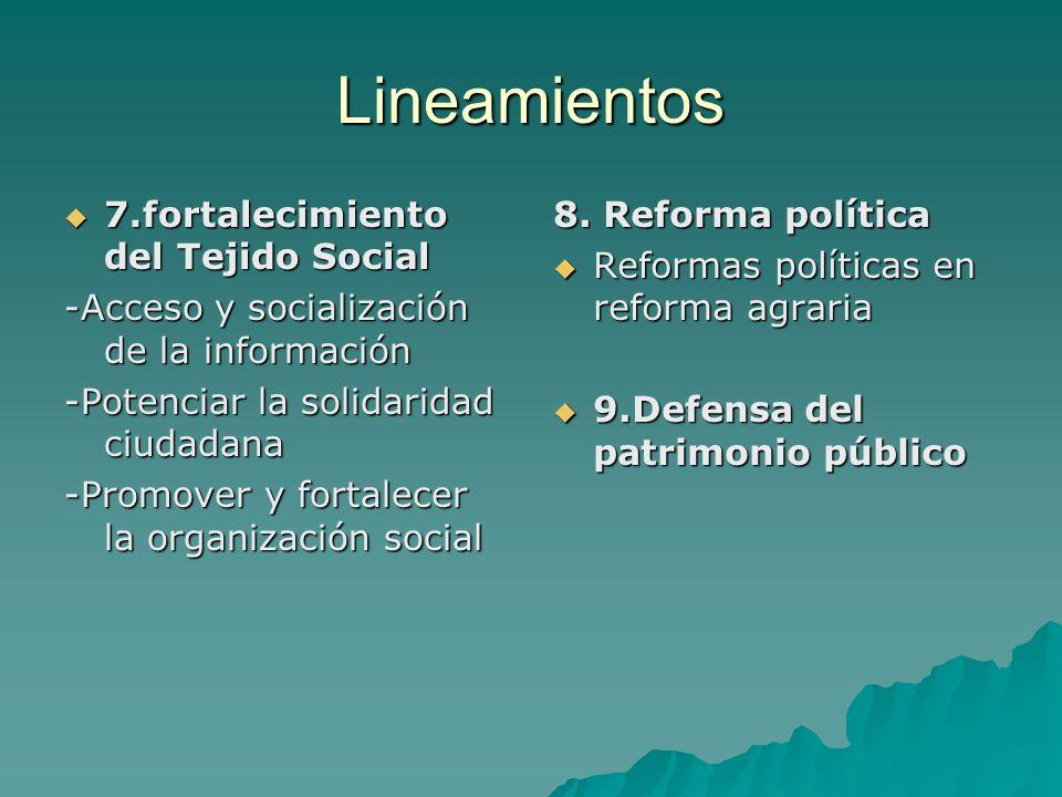 Lineamientos 7.fortalecimiento del Tejido Social 7.fortalecimiento del Tejido Social -Acceso y socialización de la información -Potenciar la solidarid