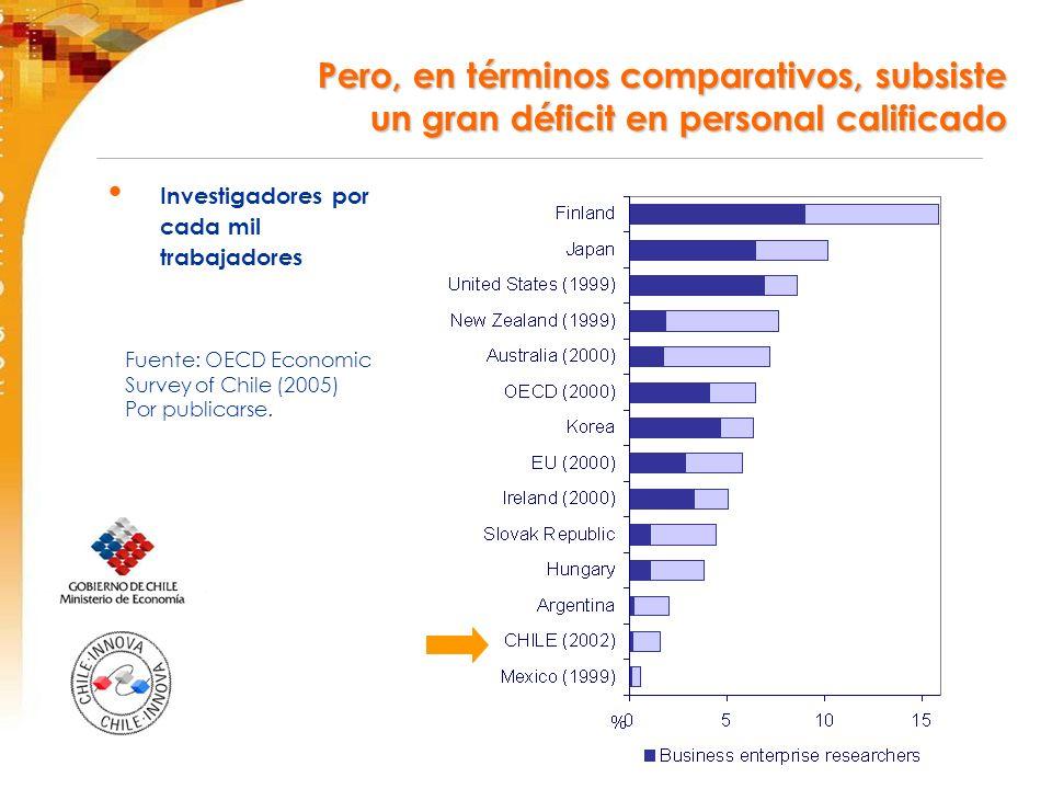 Investigadores por cada mil trabajadores Pero, en términos comparativos, subsiste un gran déficit en personal calificado Pero, en términos comparativos, subsiste un gran déficit en personal calificado Fuente: OECD Economic Survey of Chile (2005) Por publicarse.