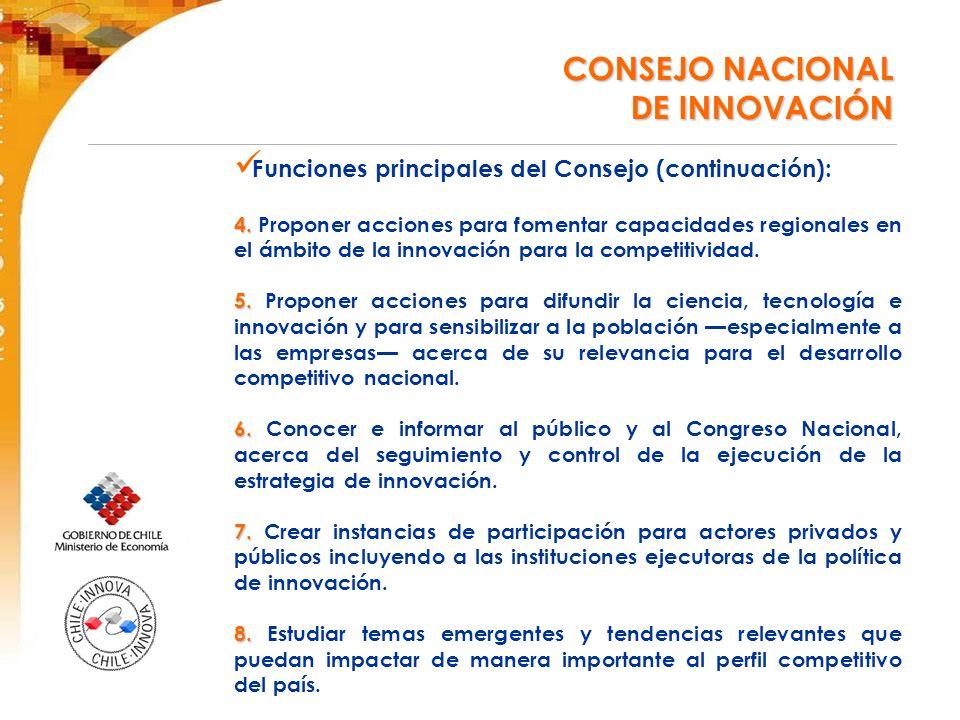 Funciones principales del Consejo (continuación): 4.