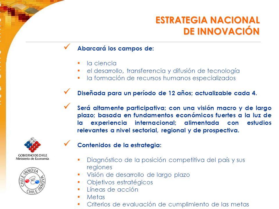 ESTRATEGIA NACIONAL DE INNOVACIÓN ESTRATEGIA NACIONAL DE INNOVACIÓN Abarcará los campos de: la ciencia el desarrollo, transferencia y difusión de tecnología la formación de recursos humanos especializados Diseñada para un período de 12 años; actualizable cada 4.