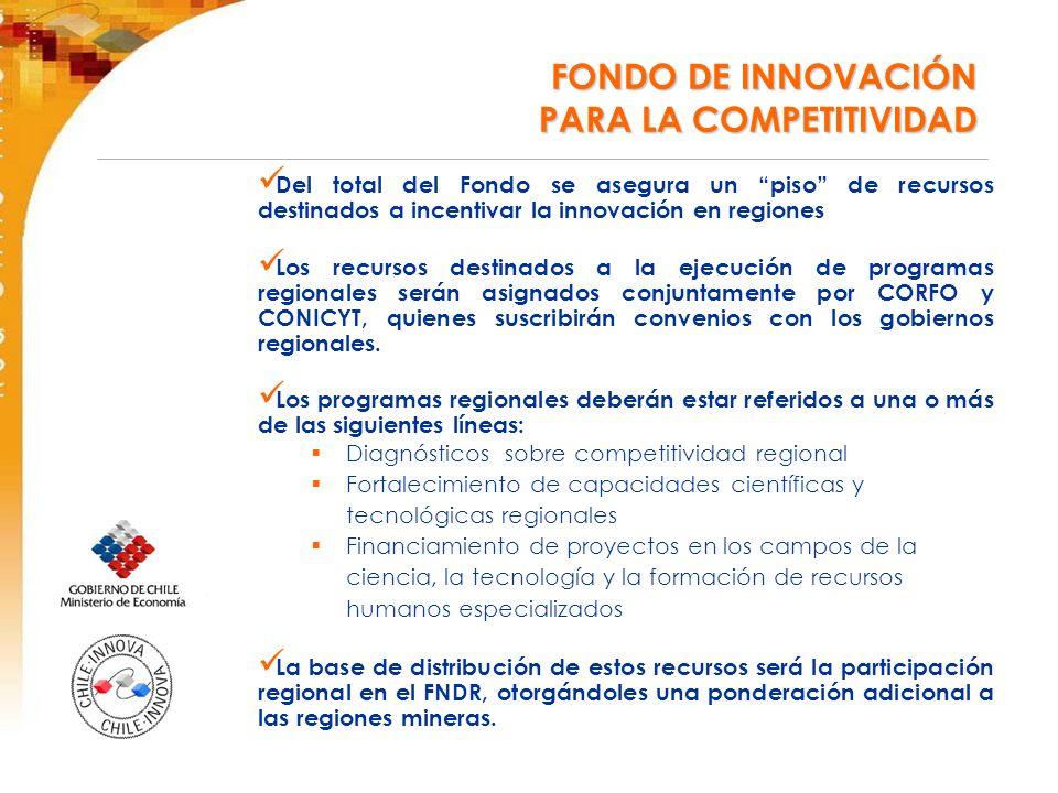 Del total del Fondo se asegura un piso de recursos destinados a incentivar la innovación en regiones Los recursos destinados a la ejecución de programas regionales serán asignados conjuntamente por CORFO y CONICYT, quienes suscribirán convenios con los gobiernos regionales.