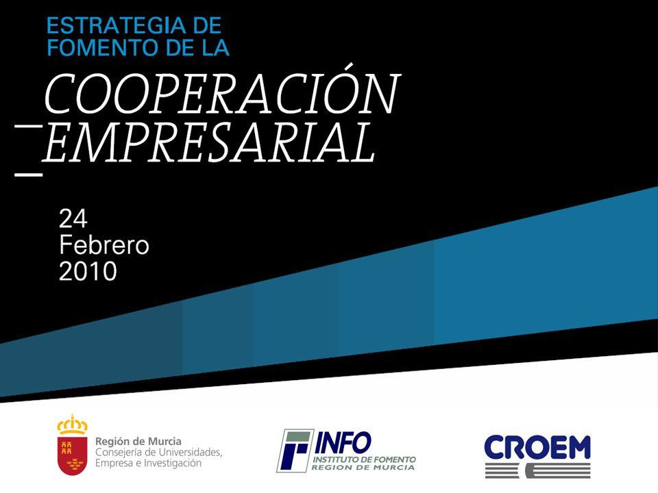 Fundamentos: ESTRATEGIA DE IMPULSO Y COOPERACIÓN EMPRESARIAL CORTO PLAZO MEDIO PLAZO LARGO PLAZO Medidas de Impulso Empresarial Estrategia de Cooperación Empresarial Red de Clusters y Cooperación La Cooperación en la Estrategia Regional Plan Estratégico de la Región de Murcia 2007-2013 Plan Industrial de la Región de Murcia 2008-2013 Plan Director INFO 2009-2013 Estrategia de la Consejería de Universidades, Empresa e Investigación