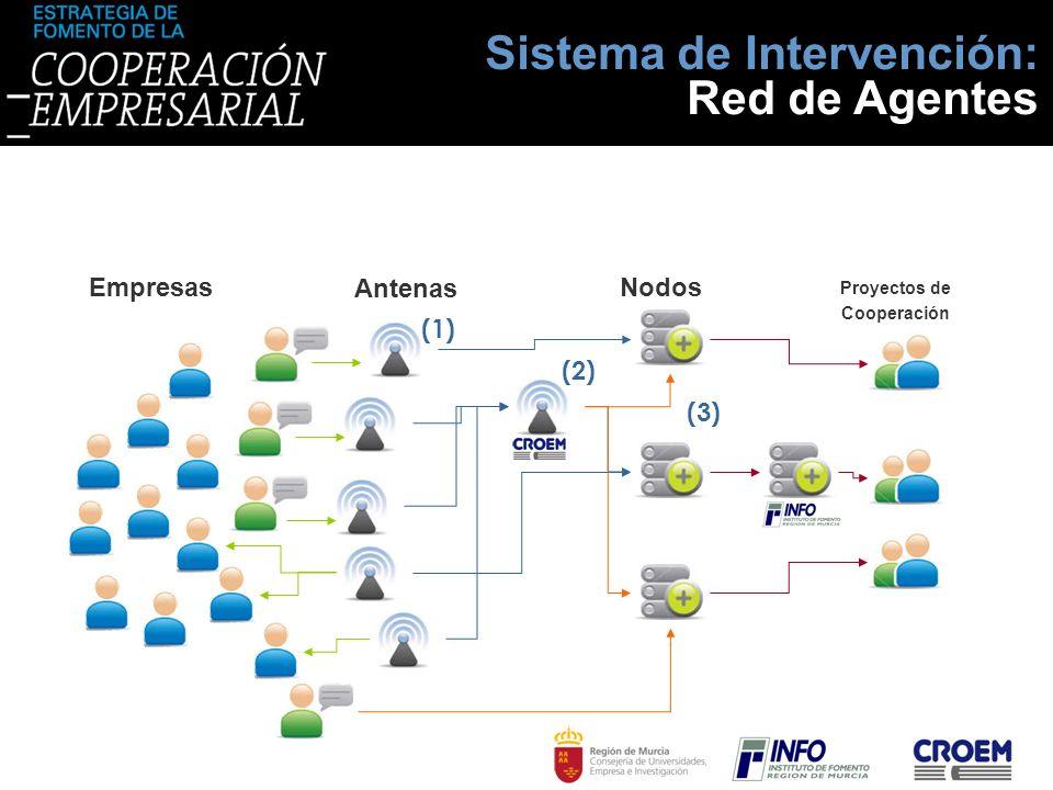 Sistema de Intervención: Red de Agentes Nodos Antenas Empresas Proyectos de Cooperación (1) (3) (2)