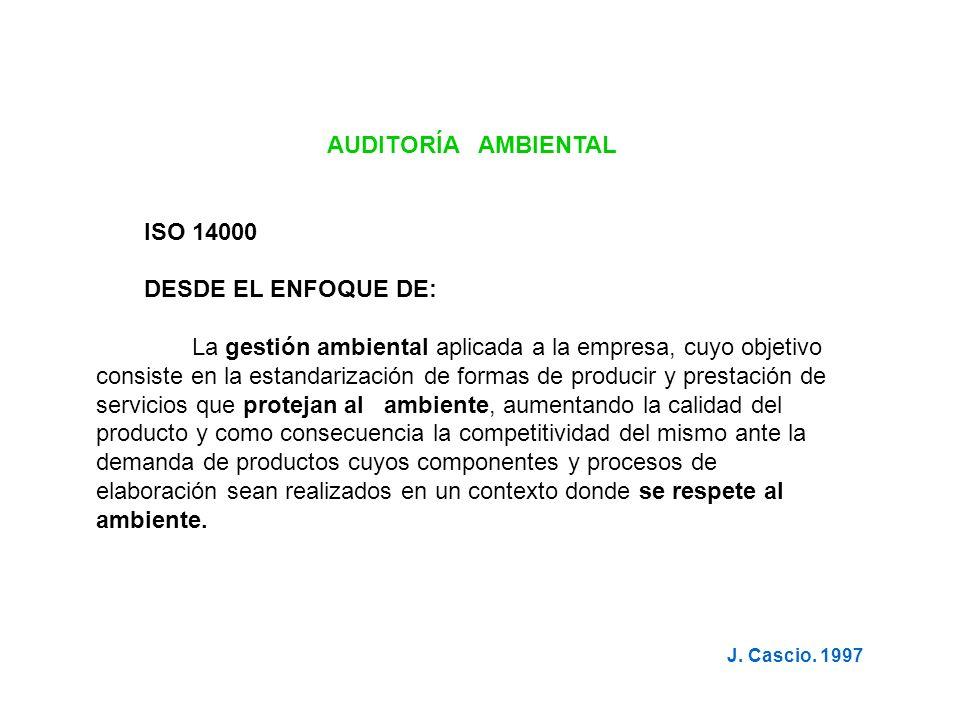 AUDITORÍA AMBIENTAL ISO 14000 DESDE EL ENFOQUE DE: La gestión ambiental aplicada a la empresa, cuyo objetivo consiste en la estandarización de formas