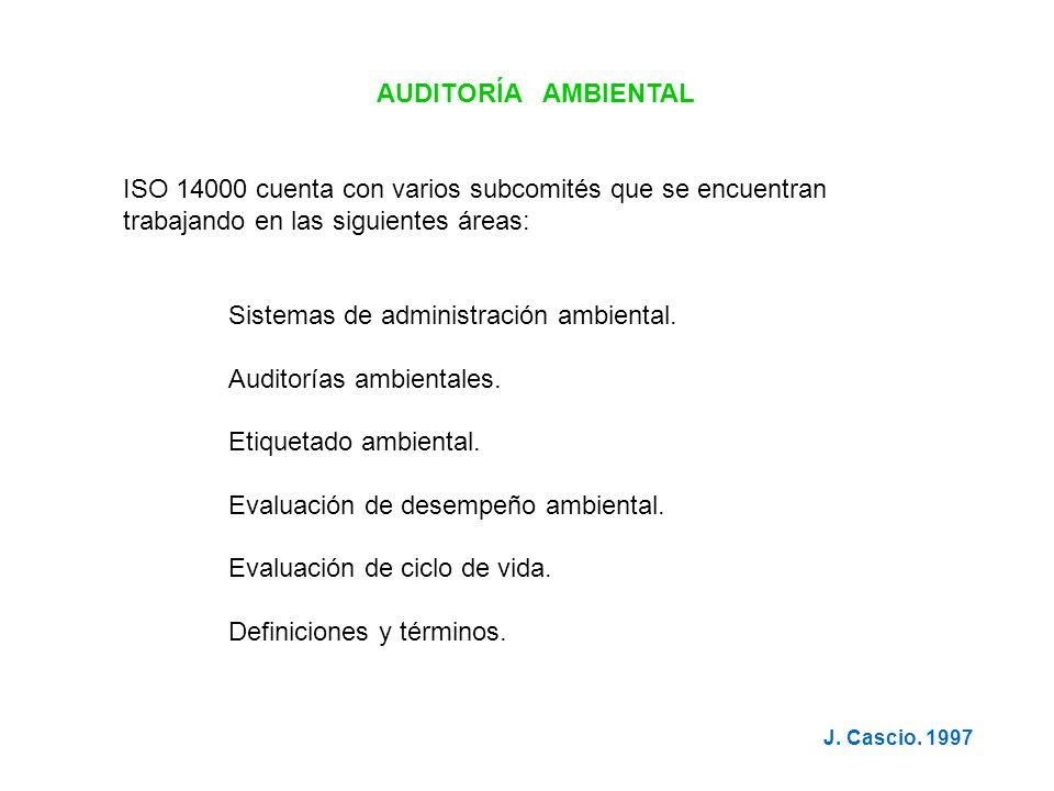 AUDITORÍA AMBIENTAL ISO 14000 cuenta con varios subcomités que se encuentran trabajando en las siguientes áreas: Sistemas de administración ambiental.