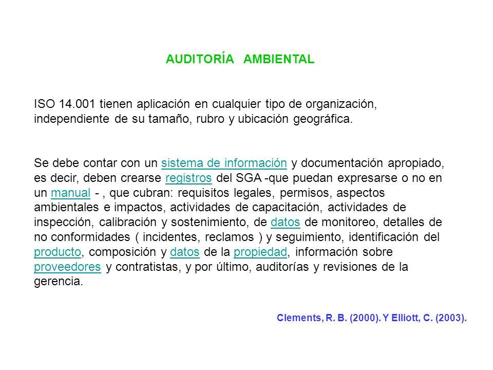AUDITORÍA AMBIENTAL ISO 14.001 tienen aplicación en cualquier tipo de organización, independiente de su tamaño, rubro y ubicación geográfica. Se debe