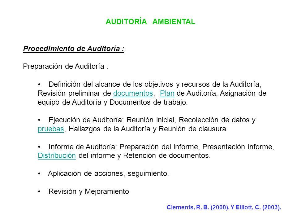AUDITORÍA AMBIENTAL Procedimiento de Auditoría : Preparación de Auditoría : Definición del alcance de los objetivos y recursos de la Auditoría, Revisi