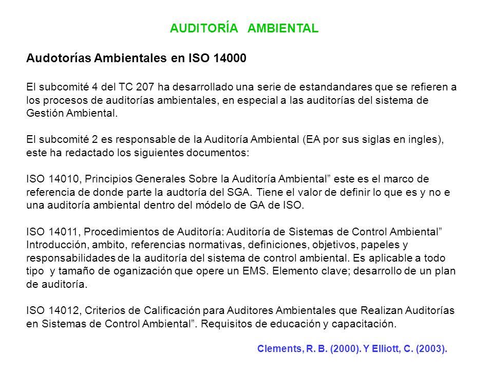 AUDITORÍA AMBIENTAL Audotorías Ambientales en ISO 14000 El subcomité 4 del TC 207 ha desarrollado una serie de estandandares que se refieren a los pro