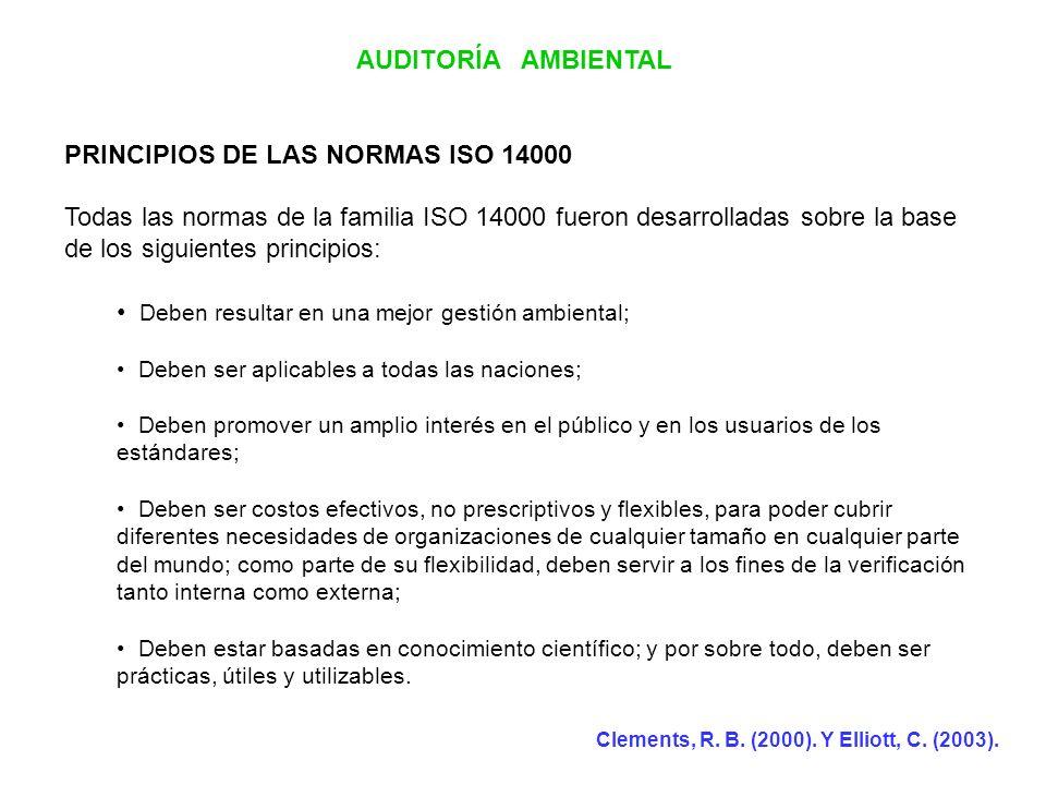 AUDITORÍA AMBIENTAL PRINCIPIOS DE LAS NORMAS ISO 14000 Todas las normas de la familia ISO 14000 fueron desarrolladas sobre la base de los siguientes p