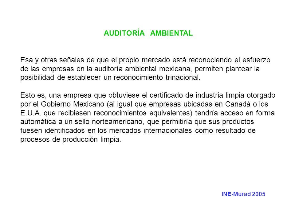 AUDITORÍA AMBIENTAL Esa y otras señales de que el propio mercado está reconociendo el esfuerzo de las empresas en la auditoría ambiental mexicana, per
