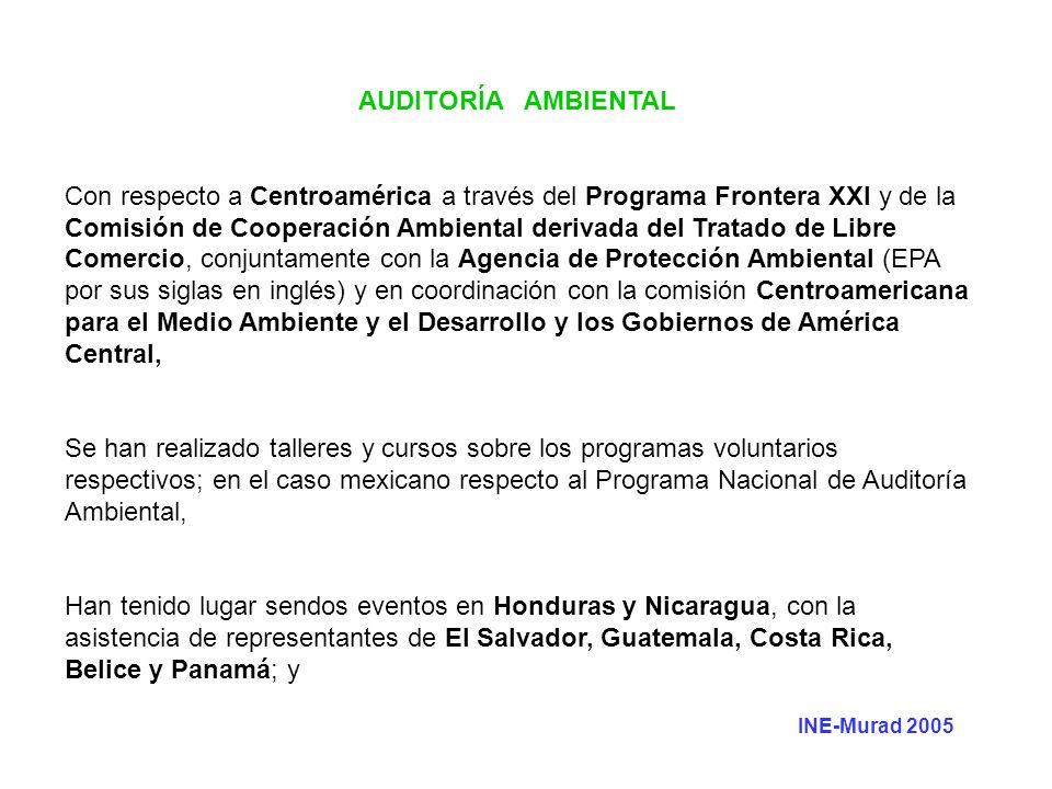 AUDITORÍA AMBIENTAL Con respecto a Centroamérica a través del Programa Frontera XXI y de la Comisión de Cooperación Ambiental derivada del Tratado de