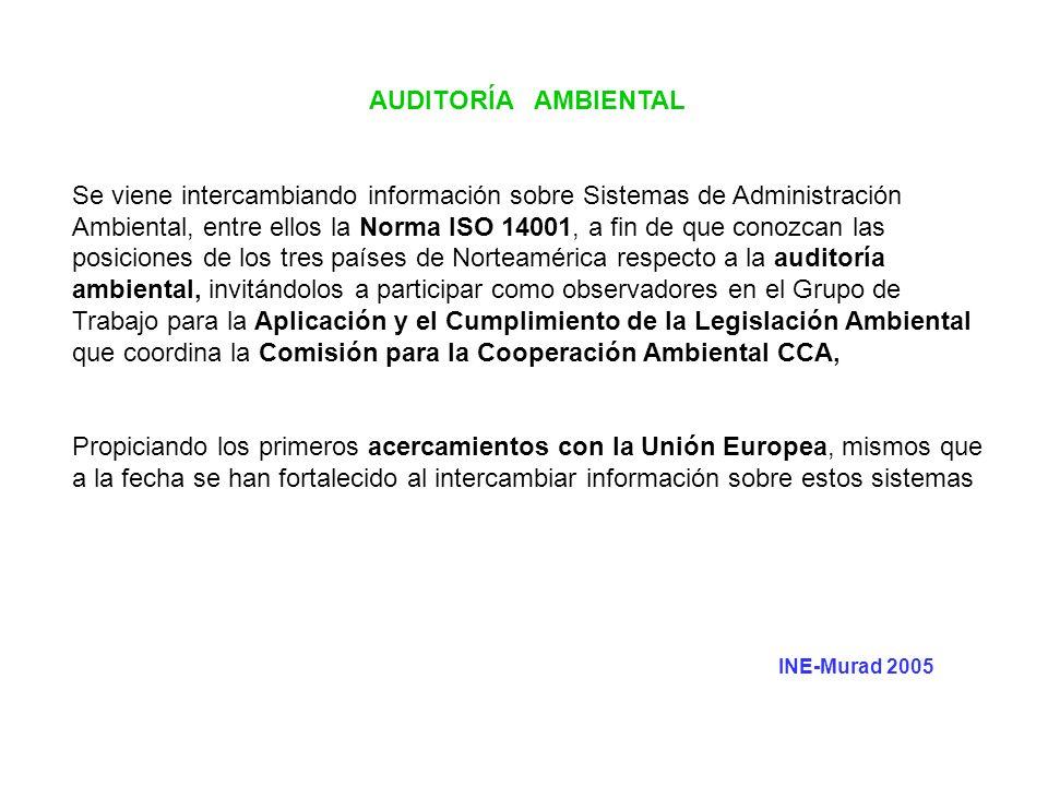 AUDITORÍA AMBIENTAL Se viene intercambiando información sobre Sistemas de Administración Ambiental, entre ellos la Norma ISO 14001, a fin de que conoz