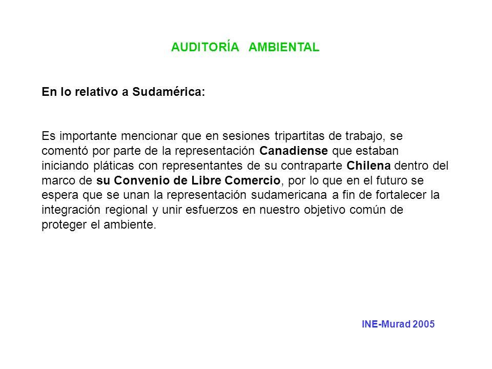 AUDITORÍA AMBIENTAL En lo relativo a Sudamérica: Es importante mencionar que en sesiones tripartitas de trabajo, se comentó por parte de la representa