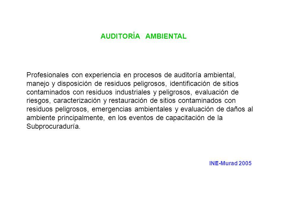 AUDITORÍA AMBIENTAL Profesionales con experiencia en procesos de auditoría ambiental, manejo y disposición de residuos peligrosos, identificación de s