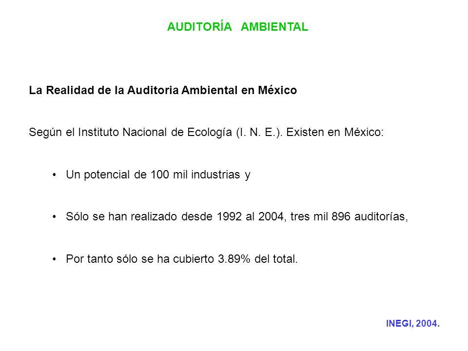 AUDITORÍA AMBIENTAL La Realidad de la Auditoria Ambiental en México Según el Instituto Nacional de Ecología (I. N. E.). Existen en México: Un potencia