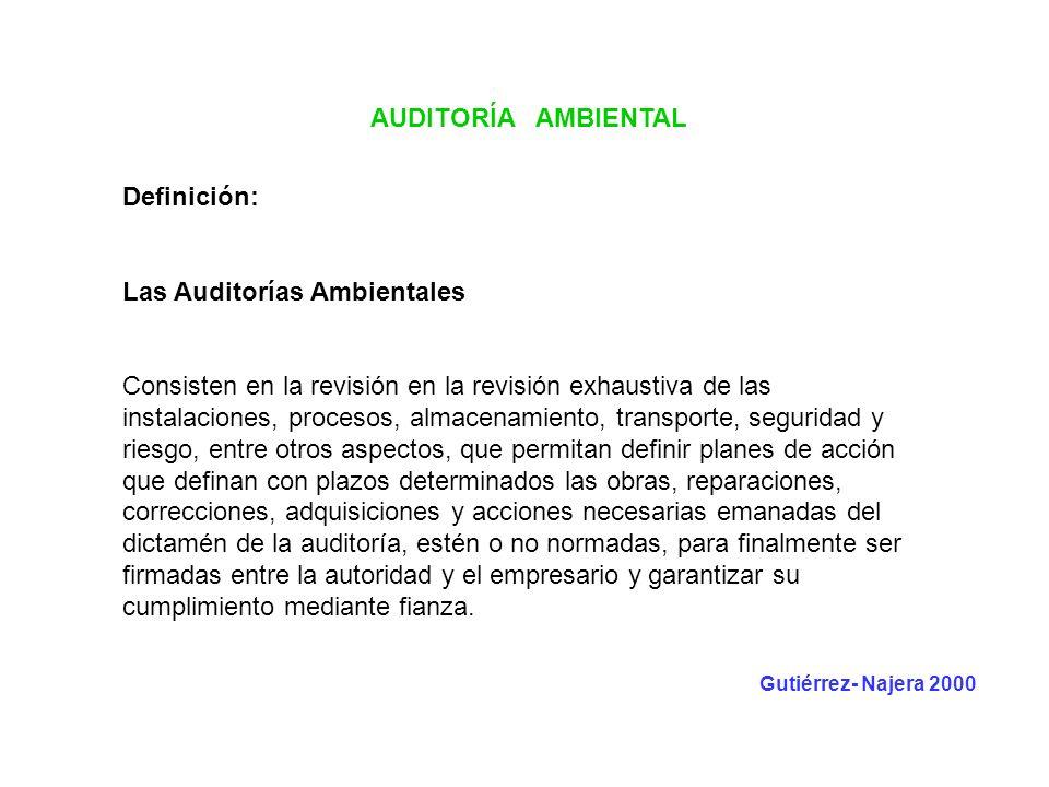 AUDITORÍA AMBIENTAL Definición: Las Auditorías Ambientales Consisten en la revisión en la revisión exhaustiva de las instalaciones, procesos, almacena